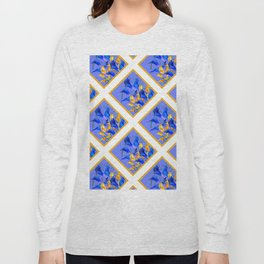 PATTERNED MODERN ABSTRACT BLUE & GOLD CALLA LILIES Long Sleeve T-shirt