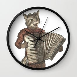 Accordion Cat with Goggles and Mask Wall Clock