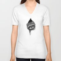 raccoon V-neck T-shirts featuring Raccoon by Daydreamer