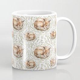 Sleeping foxes with leaves Coffee Mug