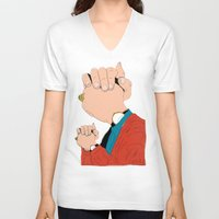 will graham V-neck T-shirts featuring Knuckle Head II - Graham by RUMOKO x Vintage Cheddar