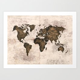 Coffee World Map Art Print