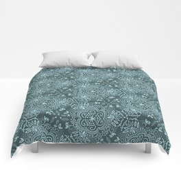 Hand-Drawn Symmetric Teal floral Comforters
