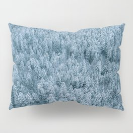 Winter pine forest aerial - Landscape Photography Pillow Sham