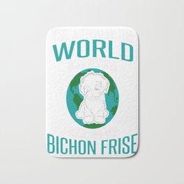 World-Does-Revolve-Around-My-Bichon-Frise Bath Mat