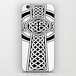 St Patrick's Day Celtic Cross Black and White iPhone Skin
