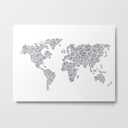 Diamonds World Map Metal Print