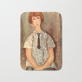 "Amedeo Modigliani ""Young Girl in a Striped Blouse"" Bath Mat"