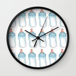 baby bottle blue pattern Wall Clock