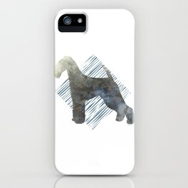 Modern Airedale Terrier Dog Watercolor Stripes iPhone Case