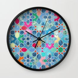 Pretty Pastel Moroccan Tile Mosaic Pattern Wall Clock