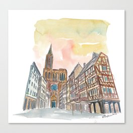 Strasbourg Alsace France Cathedral and Truss House Canvas Print
