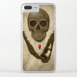 Impermanence - Velociraptor and Human Skull Clear iPhone Case