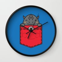 pocket Wall Clocks featuring Pocket Rhino by Steven Toang