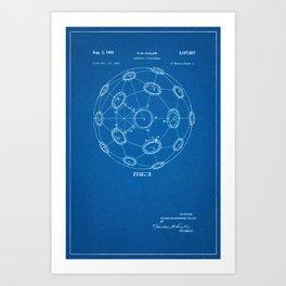 1965 Patent - Buckminster Fuller - Geodesic Structure - Blueprint Style Art Print