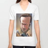 rick grimes V-neck T-shirts featuring Rick Grimes by Carrillo Art Studio