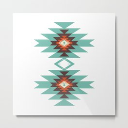 Southwest Santa Fe Geometric Tribal Indian Abstract Pattern Metal Print