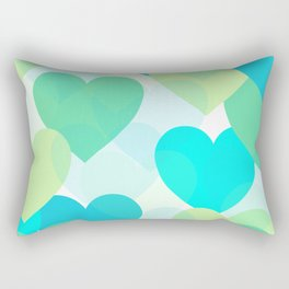 Aqua Hearts Rectangular Pillow