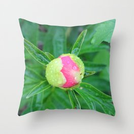 Early Peony Bud Throw Pillow