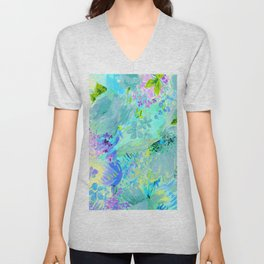 abstract floral Unisex V-Neck