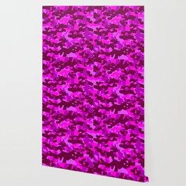 Camouflage (Fuchsia) Wallpaper