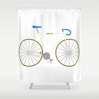 bianca green Shower Curtains featuring Bianca Pistol by Jenni's Prints