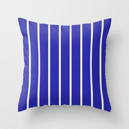 Vertical Lines (White & Navy Pattern) Throw Pillow