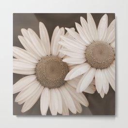 DUO A Pair of Flowers in Sepia Tones Metal Print
