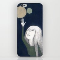 murakami iPhone & iPod Skins featuring two moons by martina troise