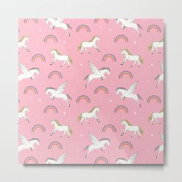 Mystical Creatures in Pink Metal Print