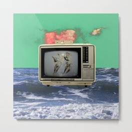 Dancers In Space On a Television At The Ocean Metal Print