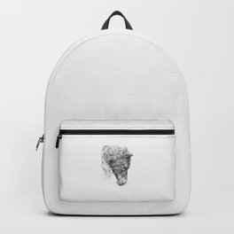 BLACK FRIESIAN HORSE portrait Black & White pencil drawing Backpack