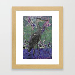 Heron stands in the Dee Framed Art Print