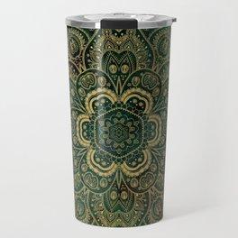 Golden Flower Mandala on Dark Green Travel Mug