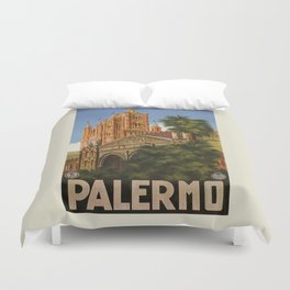 vintage Palermo Sicily Italian travel ad Duvet Cover