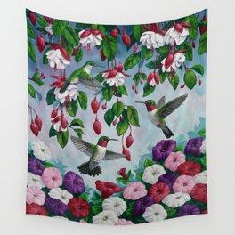 Hummingbirds in Fuchsia Flower Garden Wall Tapestry