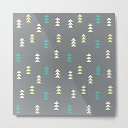 Geometric triangles, gray Metal Print