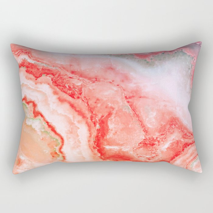 Luxury LIVING CORAL Agate Marble Geode Gem Rectangular Pillow