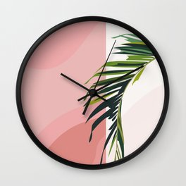 Leaf I : Palm Tree Leaf on Pink Wall Wall Clock