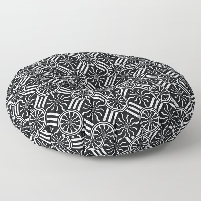 Wavy Black and White Pinwheel and Stripes Pattern - Graphic Design Floor Pillow
