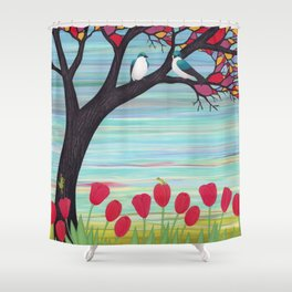 tree swallows in the stained glass tree with tulips and frogs Shower Curtain