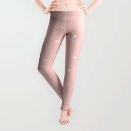 Cute girly hand drawn abstract cat face on pastel pink Leggings