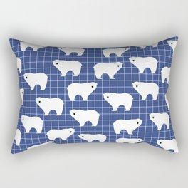 White Polar Bear Pattern on Blue Background Rectangular Pillow