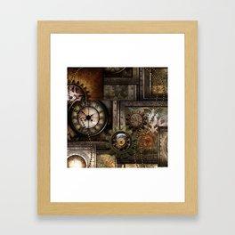 Steampunk, wonderful clockwork with gears Framed Art Print