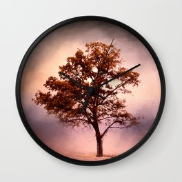 Coral Pink Sunrise Cotton Field Tree - Landscape  Wall Clock