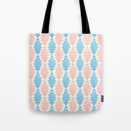 Pastel pink blue vintage chic floral damask pattern Tote Bag
