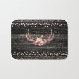 Glam Boho Chic Floral Antlers & Rustic Wood Bath Mat