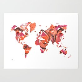 Watercolor World Map (peach/pink/brown) Art Print