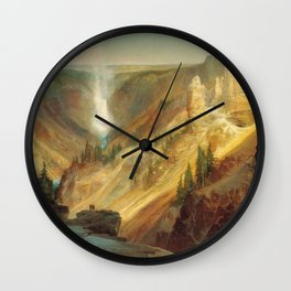 The Grand Canyon Of The Yellowstone 1872 By Thomas Moran | Daylight Watercolor Scenery Reproduction Wall Clock
