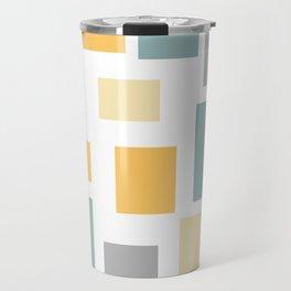 Mustard Teal Gray Geometric Block Travel Mug
